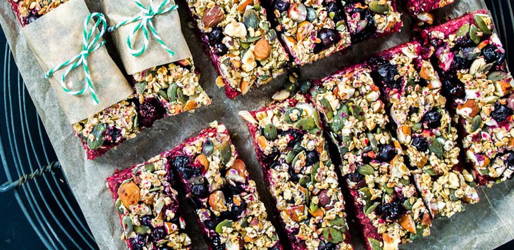 Omega Boost Beetroot & Blackcurrant Energy Bars, by Kate